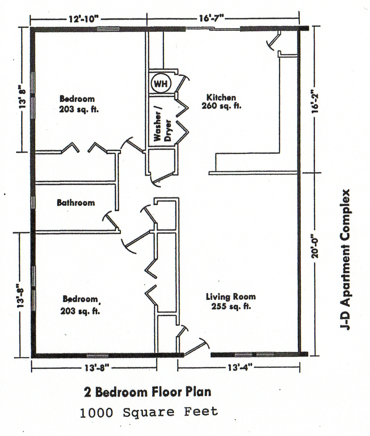 2 Bedroom Floor Plans House Design